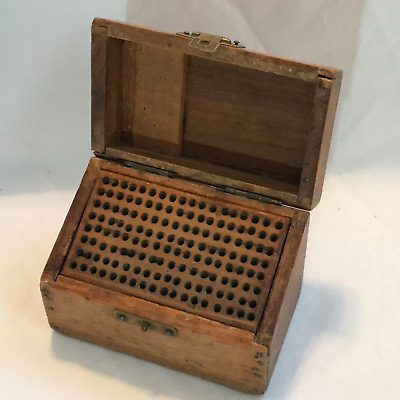 Antique Small Wood Drill Bit Box, Hinged, Empty, with Triangle Logo