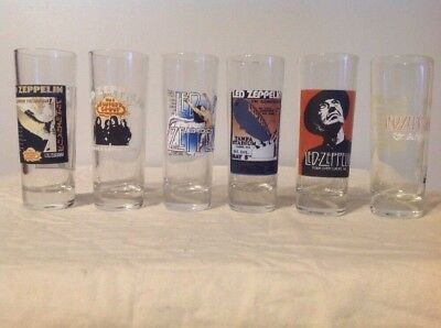 LED ZEPPELIN COLLECTOR SERIES SHOOTERS SHOT GLASSES 2oz SET OF 6 GREAT CONDITION