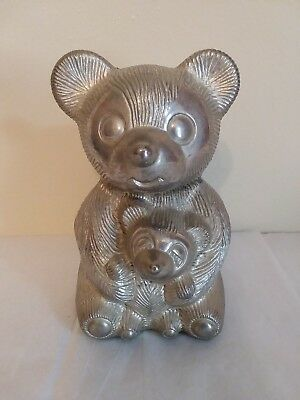 Vintage Silver Plated Teddy Bear Coin Bank