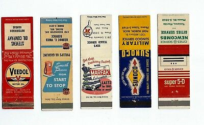 A mixed lot of five (5) Gas & Oil matchbook Covers  Lt 1