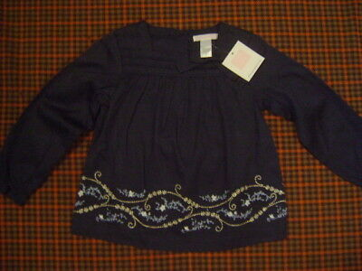NWT JANIE & JACK Girls Flower Silver Embroidered Long Sleeve Navy Blue Top Sz 3T