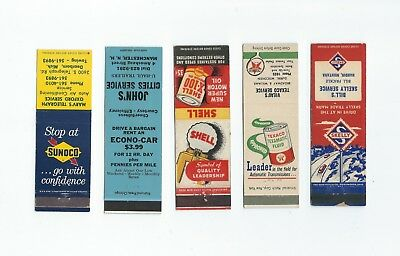 A mixed lot of five, (5) Gas & Oil Matchbook Covers  Lt 3