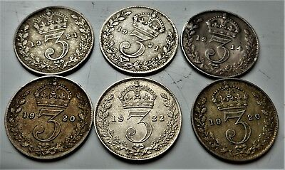 6 X King George V Silver  Threepence Coins