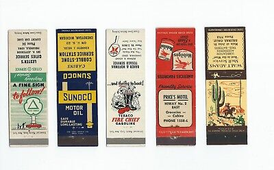 A mixed lot of five, (5) Gas & Oil Matchbook Covers  Lt 4