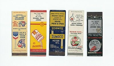 A mixed lot of five, (5) Gas & Oil Matchbook Covers  Lt 5