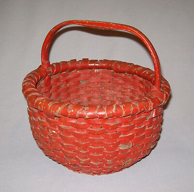 """Antique Vtg 19th C 1800s Woven Oak Splint Basket Footed Small 9"""" Early Red Paint"""
