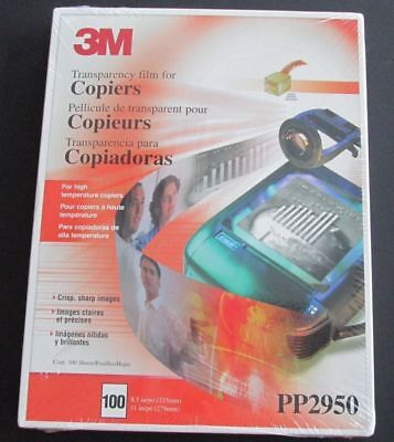 3M Transparency Film for Copiers, PP2950, New, Factory Sealed, 100 Sheets
