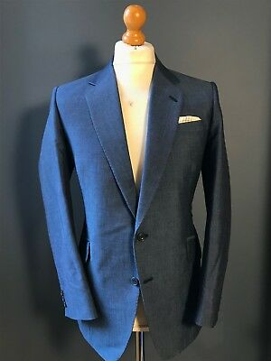 Vintage bespoke blue mohair single breasted prince of wales suit size 38 40