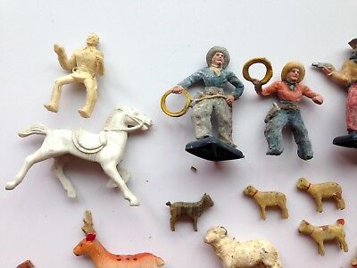 Lot Of 6O Small Plastic Rare & Old Beton Cowboys Horses Farm Animals Fencing