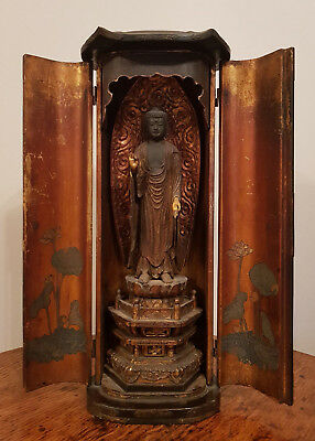 Antique 1700'S Japanese Miniature Temple Wooden Carved Buddha