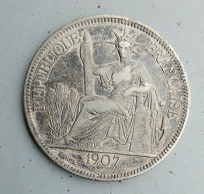 French Indo-China A.d. 1907 Piastre De Commerce Coin Silver