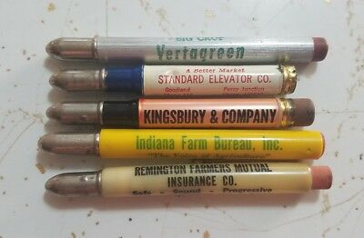 Lot of 5 Vintage Advertising Bullet Pencils - State of  Indiana - Assorted Towns