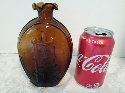 Success To The Railroad Pint Flask Amber, no cracks or chips