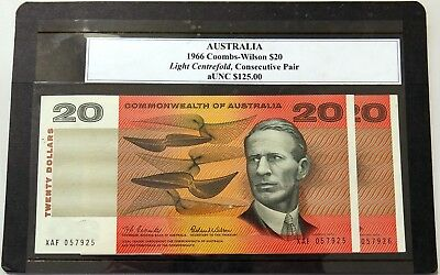 Commonwealth of Australia 1966 Coombs/Wilson $20 Consecutive Pair Banknotes aUNC