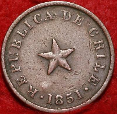 1851 Chile 1/2 Centavo Foreign Coin