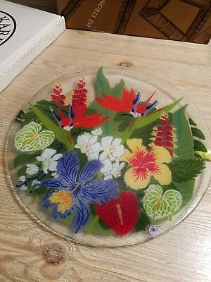 Peggy Karr Glass Signed 14 inch Round Platter Tropical Floral Handmade in USA