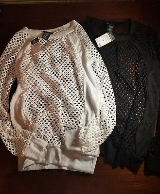 Lot of 2 Shirts Tops 1 black 1 white Rue 21 Netted Holey Shirt Size Small
