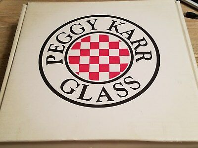 Peggy Karr Glass Signed 11 inch Fluted Bowl Tropical Floral Box made in the USA