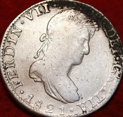 1821 Mexico 8 Reales Silver Foreign Coin