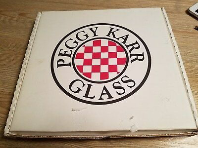 Peggy Karr Glass Signed 11 inch Tropical Floral Platter w/Box Handmade in USA