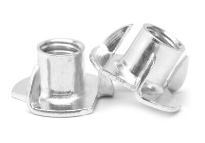"#6-32 x 1/4"" Coarse Thread Tee Nut 3 Prong Low Carbon Steel Zinc Plated"