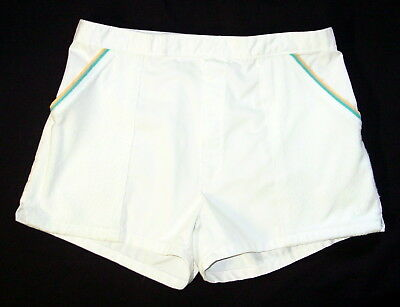 Mens Jantzen Vintage Swim Trunks Shorts Size 30 White Terry Toweling FF30