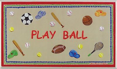The Kids Room by Stupell Play Ball with Red Border Rectangle Wall Plaque New