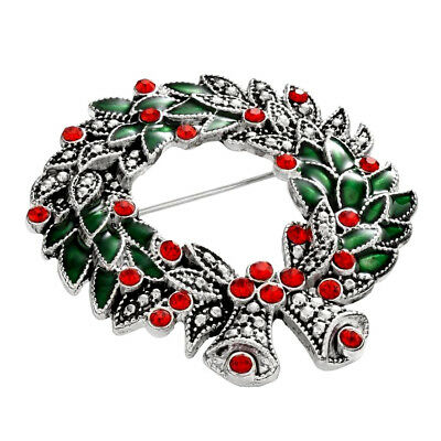 NEW $14 Kohls Christmas Holday Wreath Pin Brooch Silver Red Crystal Green Enamel