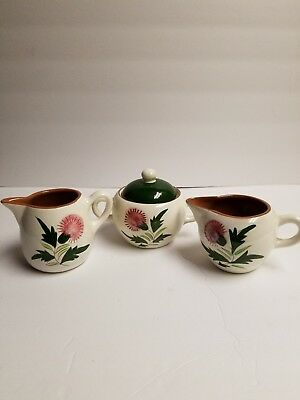 Vintage Stangl Pottery China Thistle Pink Green Sugar Bowl with Lid & Creamers
