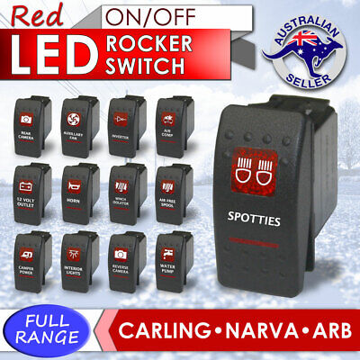 RED Rocker Switch ARB Carling Style dual backlit LED on-off
