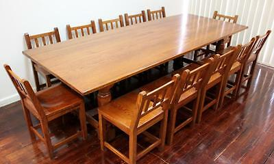 Dining Table Vintage Farmhouse Refectory Solid Oak  With 12 Matching Oak Chairs