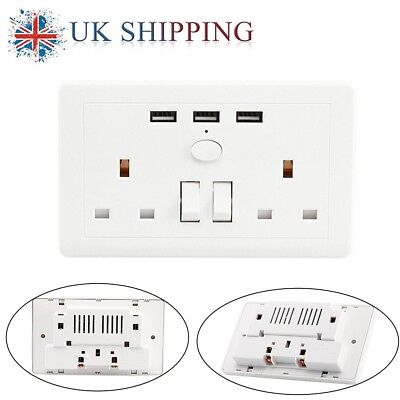 1~10x UK Charger Outlets DUAL 2 Gang Socket With 3 USB Ports Plate Wall Plug 13A