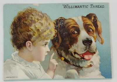 Vintage Victorian Trade Card Willimantic Thread Co. Small Girl Big Dog 1800's