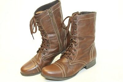 aaecfe578e8 Steve Madden Troopa Womens 10 M Dark Brown Leather Lace Up Combat Boots bg
