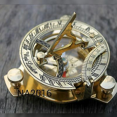 3'' Maritime Sundial Solid Brass Compass Vintage Marine Nautical Compass Navy