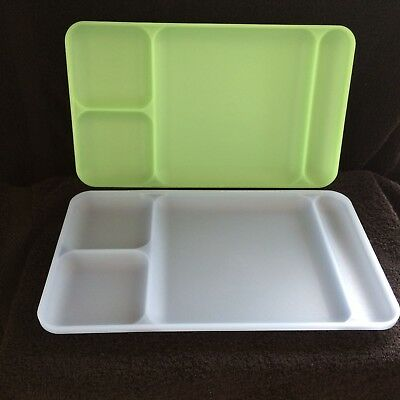 2 x Vintage Tupperware Meal Trays Divided Picnic Plate RARE IN UK Green & Blue