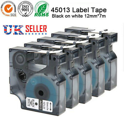 1-5x D1 tape cartridge 45013 ,45010 12mmx7m for DYMO label manager printer UK