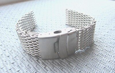 22mm Stainless Steel Shark Mesh Watch Band Bracelet Strap Safety Clasp BNWOT