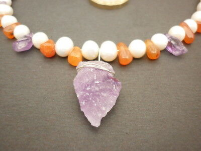 Larp Viking Necklace Amethyst Pearl Carnelian Handcrafted Swsw