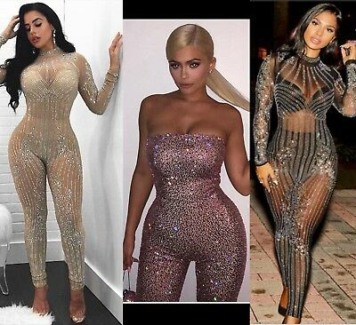 Lady Barbie Sparkle Playsuit Mesh Sheer Shine Rhinestone Party Bodycon Jumpsuit