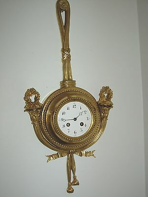 Large French Louis Xv  Gilt Bronze Cartel Clock 1890