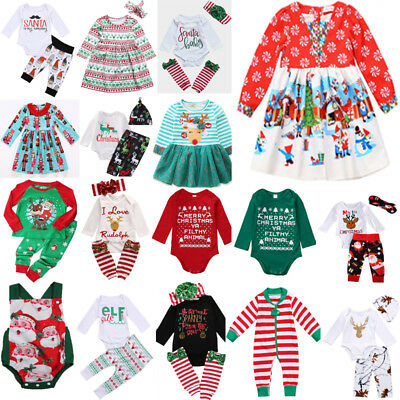 my first christmas newborn baby boy girl tops romperpants outfit pajamas set us