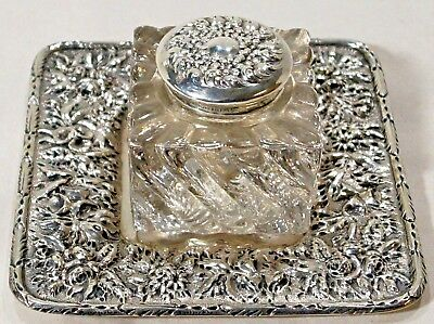 Amazing Antique S. Kirk & Son Sterling INKWELL & TRAY Set Floral Repousse