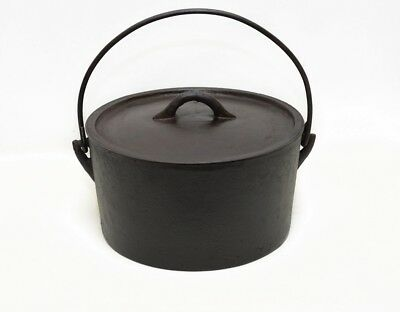 Antique Cast Iron Dutch Oven Plus Bail No. 10 with Lid Cleaned & Seasoned