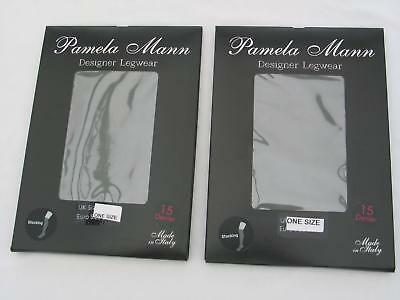 TWO PAIRS of STOCKINGS BLACK ONE SIZE LADIES 15 DENIER NYLONS BNWT