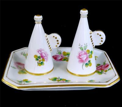 N730 Antique 19Th Century Minton Porcelain Candle Snuffers On Stand Pink Roses