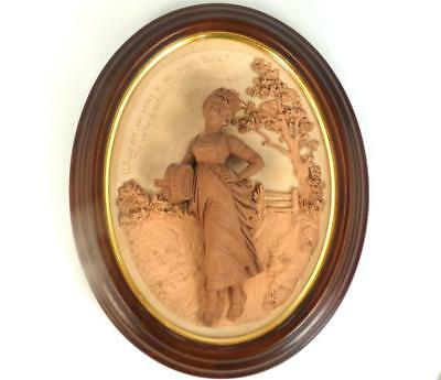 N725 Antique James Hadley Worcester Terracotta High Relief Plaque Art Pottery