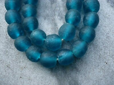 "Strang Altglasperlen 13 mm ""New Deep Sea Blue"" Recycled Glass Beads Ghana Krobo"
