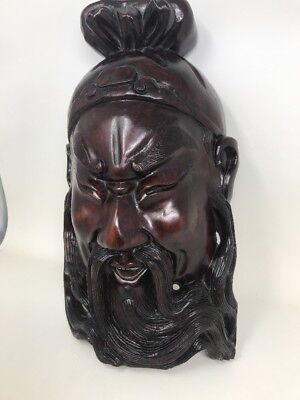 """14"""" Antique 19C Chinese Rosewood Hand Carved Mask Of Warrior"""