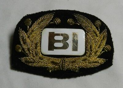 Vintage Braniff International Airlines Hat Badge - BI w/ Metallic Thread Wreath